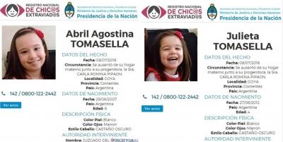 Sigue la búsqueda en el país de las niñas goyanas, Julieta y Abril Tomasella