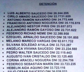 Se filtró la lista de Buscados en la Megacausa Narco