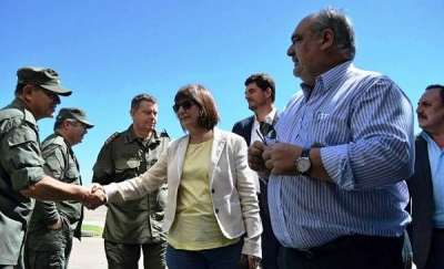 EN CAMBÁ PUNTA: El gobernador Colombi recibió a la ministra Patricia Bulrrich